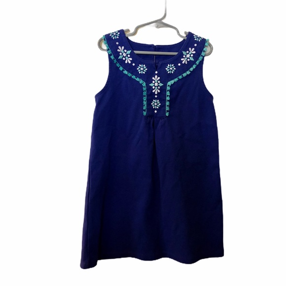 Gymboree blue embroidered sleeveless dress size 7